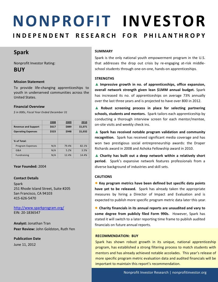 NONPROFIT INVESTORINDEPENDENT RESEARCH FOR PHILANTHROPYSpark                                                 SUMMARY      ...