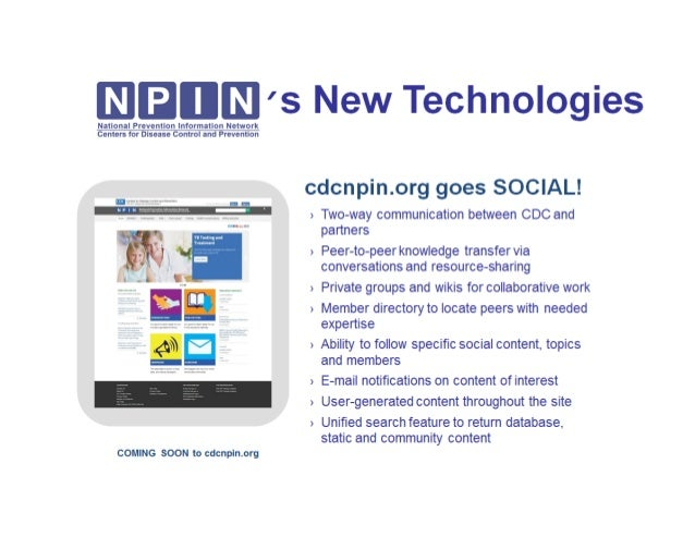 NPIN's New Technology Coming Soon: CDCNPIN.org goes Social