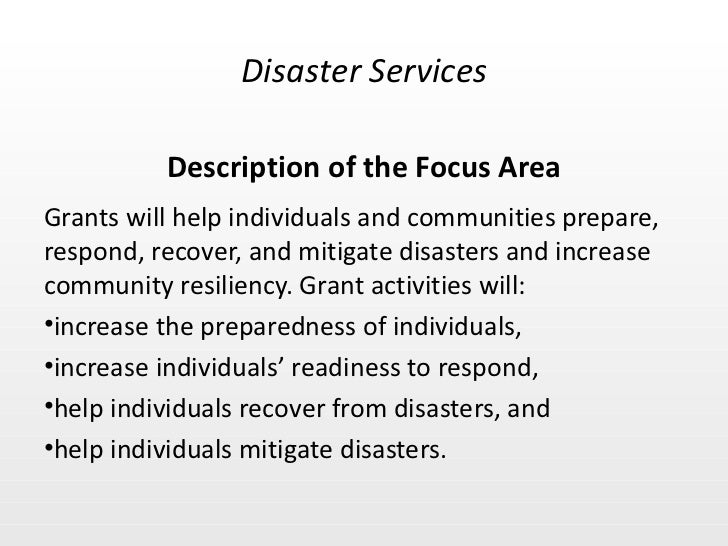 Disaster Services Focus Area