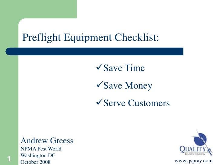 Spray Equipment - Pre-Flight Check list