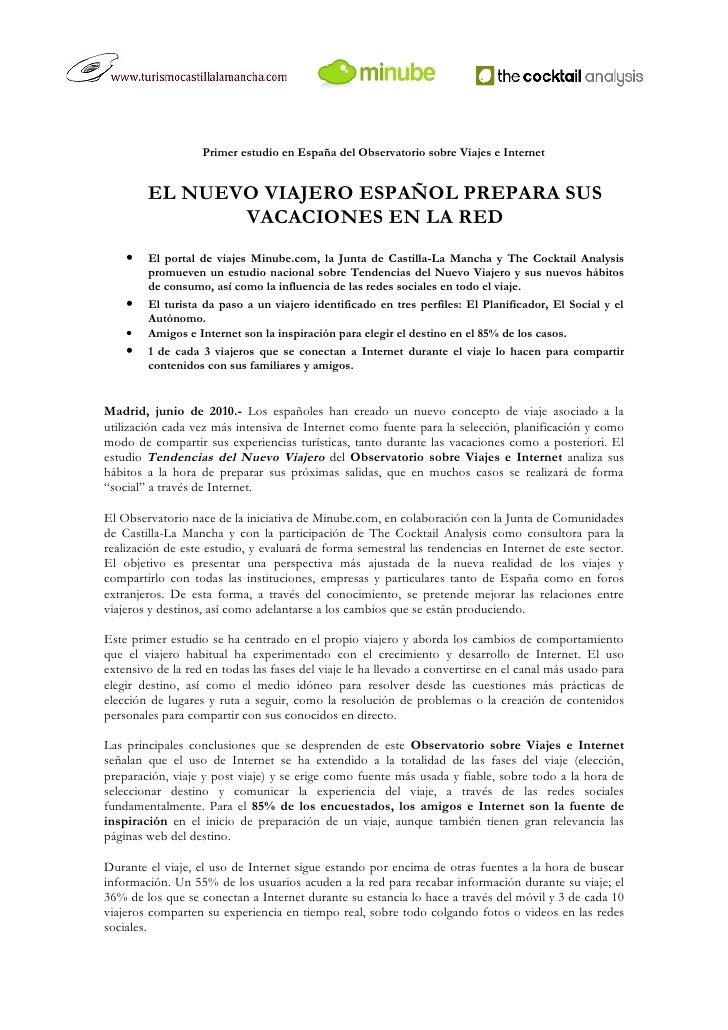 Nota de Prensa Observatorio sobre Viajes e Internet