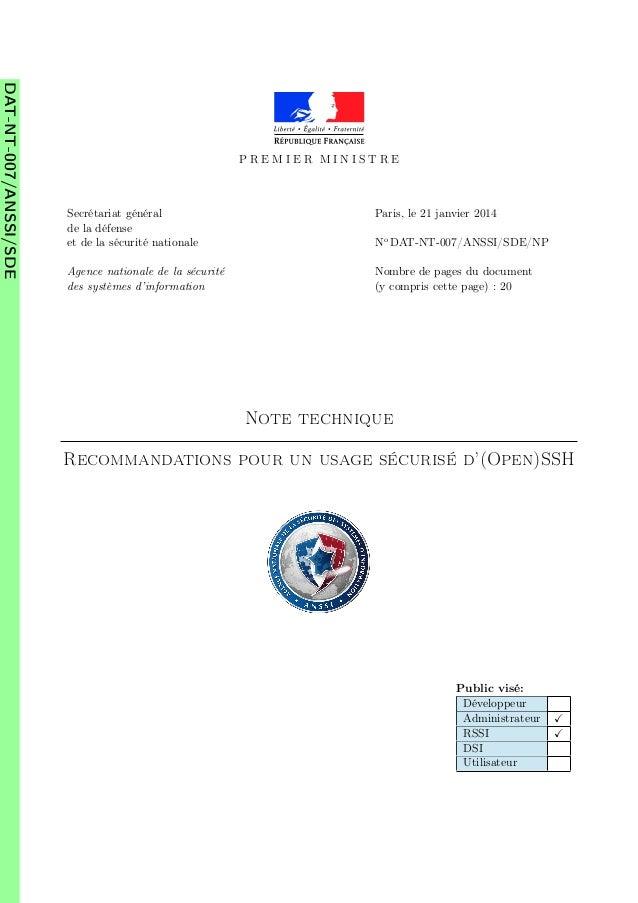 DAT-NT-007/ANSSI/SDE  PREMIER MINISTRE  Secrétariat général de la défense et de la sécurité nationale  Paris, le 21 janvie...