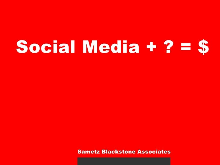 Social Media + ? = $: Nonprofits and Social Media
