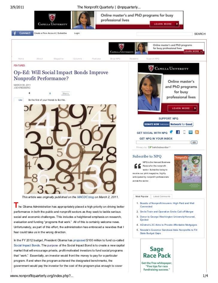 NPQ Op-Ed:  Will Social Impact Bonds Improve Nonprofit Performance?
