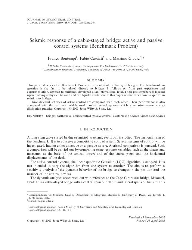 JOURNAL OF STRUCTURAL CONTROLJ. Struct. Control 2003; 10:169–185 (DOI: 10.1002/stc.24) Seismic response of a cable-stayed ...