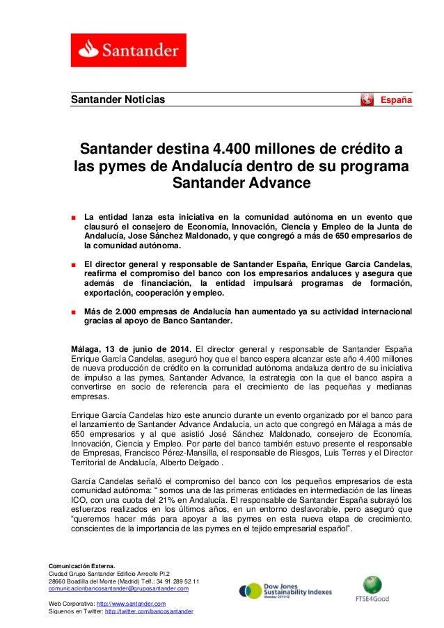 Santander destina 4.400 millones de crédito a las pymes de Andalucía dentro de su programa Santander Advance