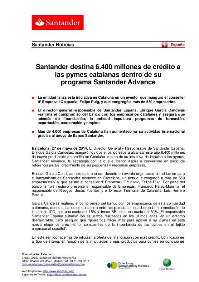 Santander destina 6.400 millones de crédito a las pymes catalanas dentro de su programa Santander Advance