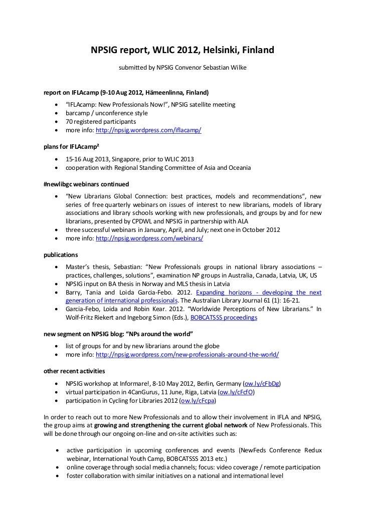 NPSIG report, WLIC 2012, Helsinki, Finland                           submitted by NPSIG Convenor Sebastian Wilkereport on ...