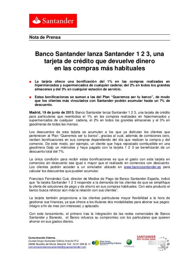 Banco Santander lanza Santander 1 2 3, una tarjeta de crédito que devuelve dinero en las compras más habituales