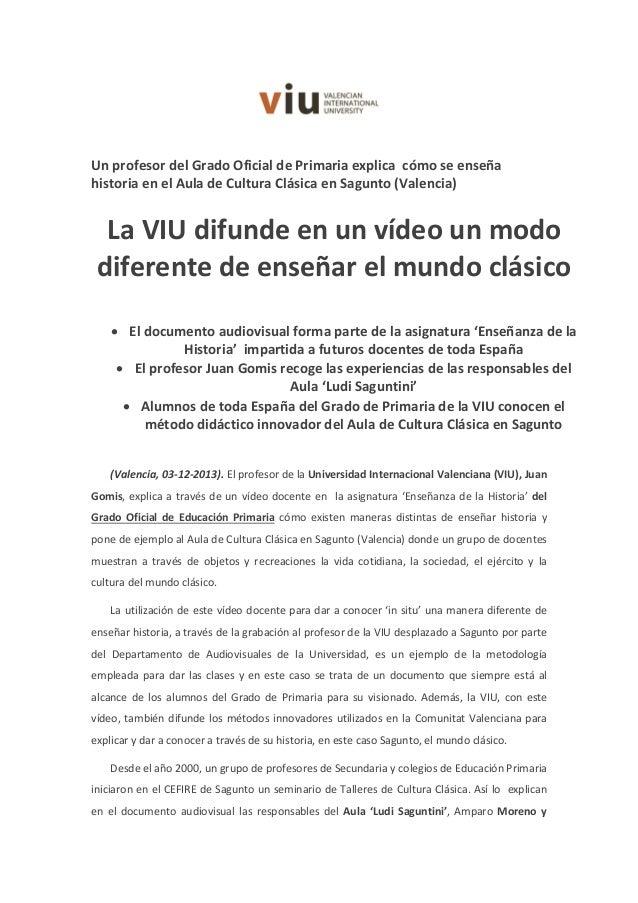 Un profesor del Grado Oficial de Primaria explica cómo se enseña historia en el Aula de Cultura Clásica en Sagunto (Valenc...