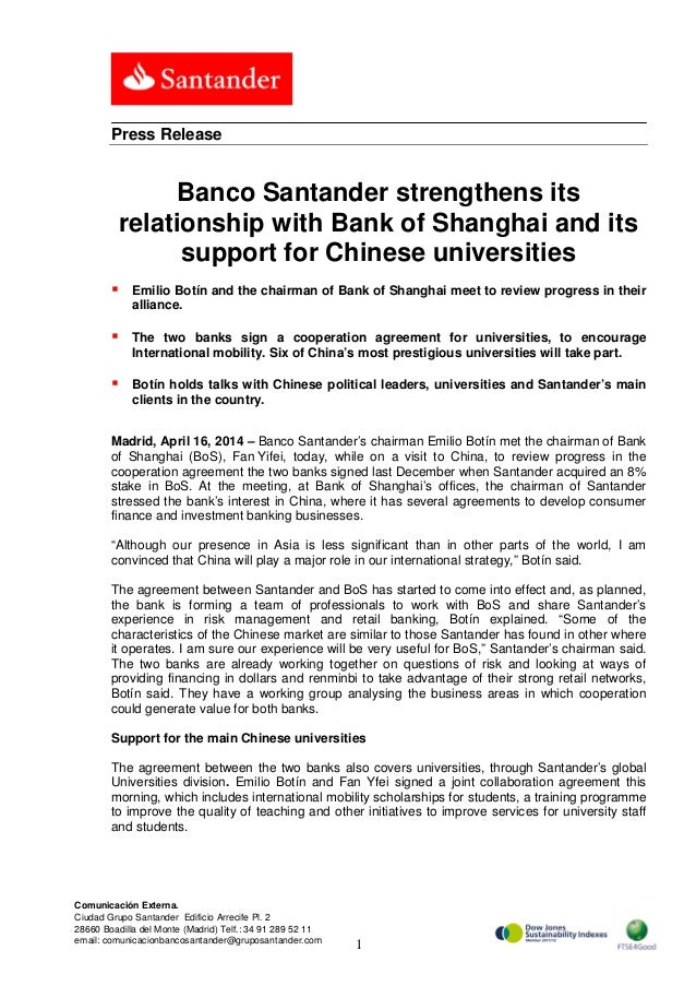 Banco Santander strengthens its relationship with Bank of Shanghai and its support for Chinese universities