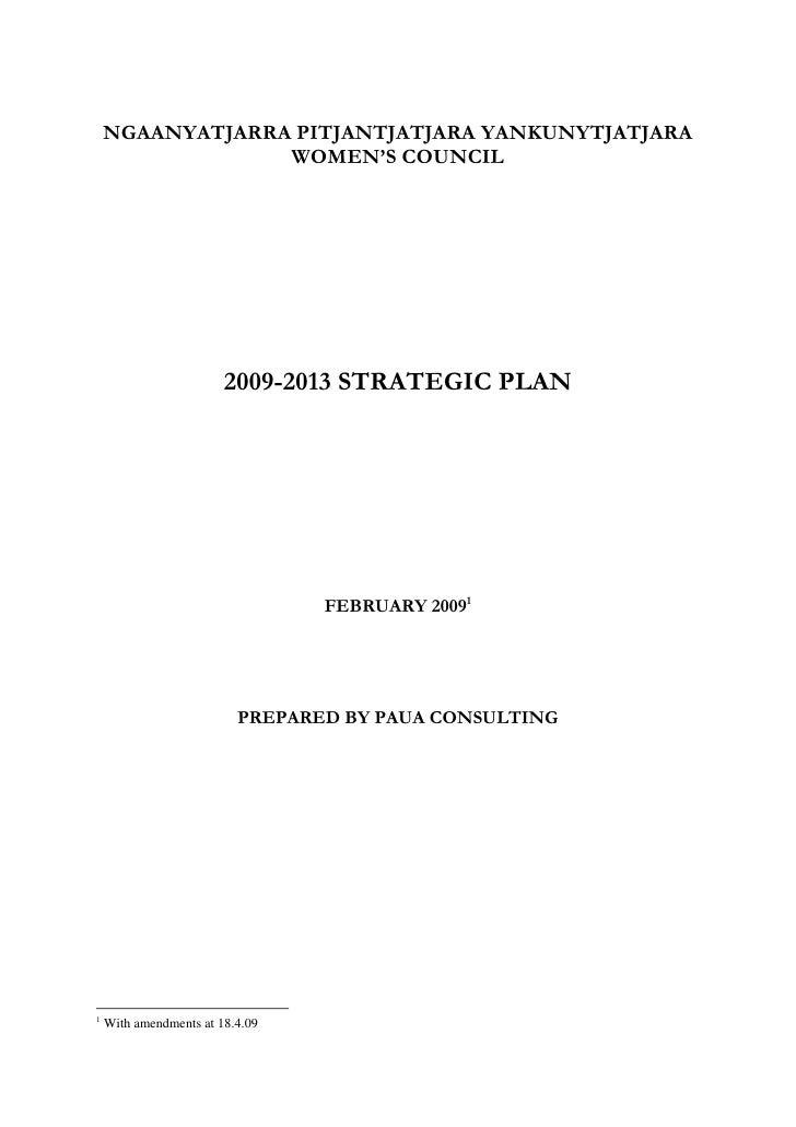 NPYWC Strategic Plan 2009 2013 4 3 09  at 18 4 09