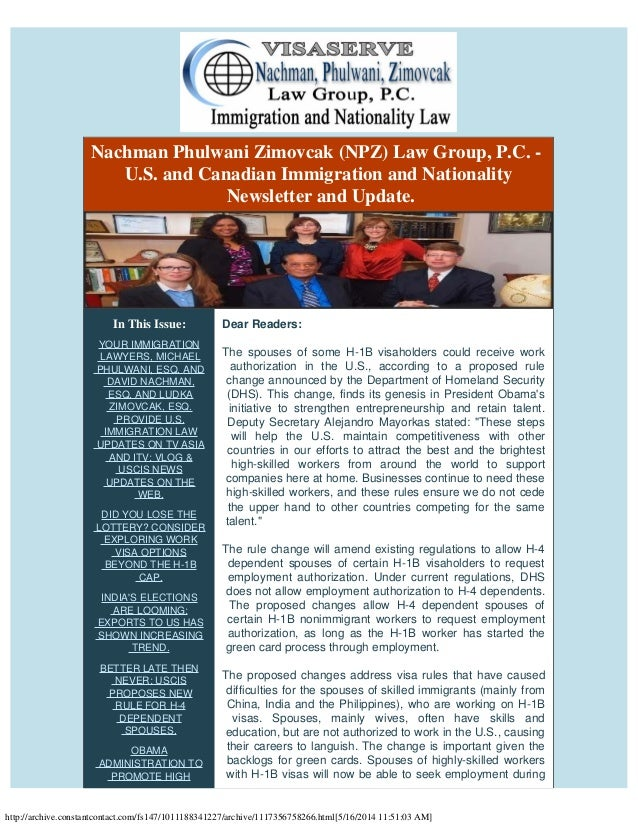 Npz law group's u.s. & canadian immigration law update immigration reform  h 4 visas