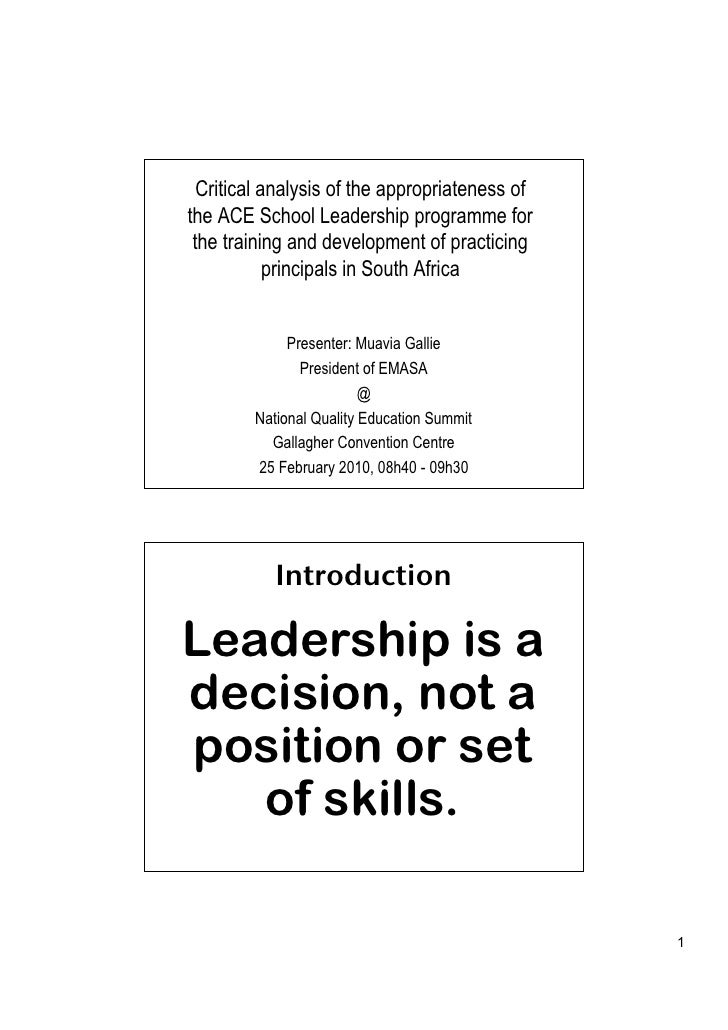 Critical analysis of the appropriateness of the ACE School Leadership programme for  the training and development of pract...