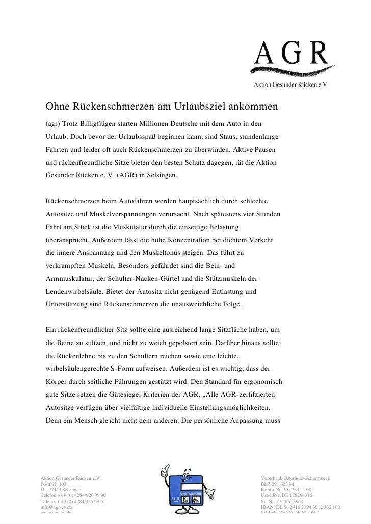 Ohne Rückenschmerzen am Urlaubsziel ankommen  (agr) Trotz Billigflügen starten Millionen Deutsche mit dem Auto in den  Url...