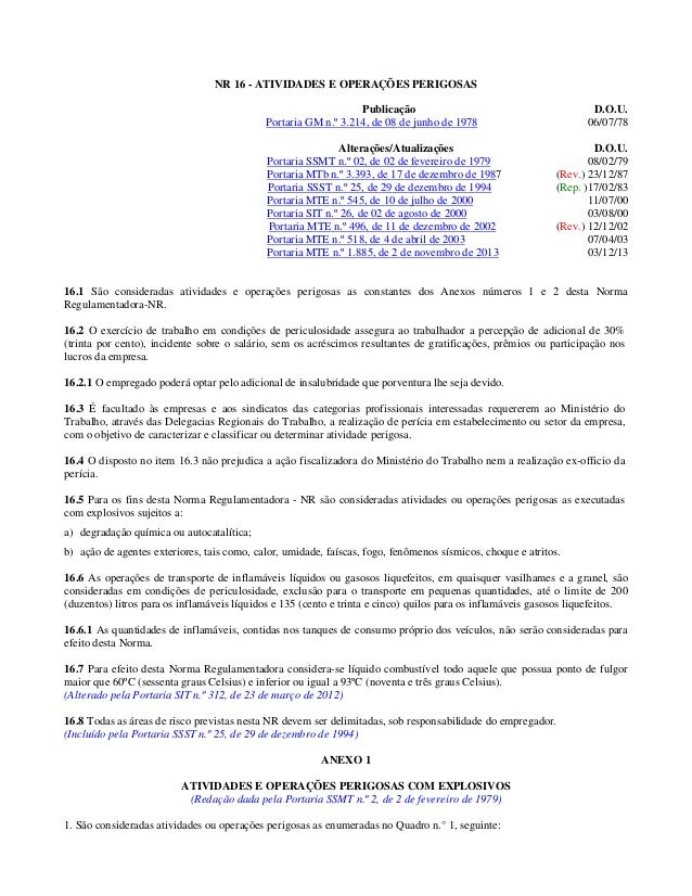 NR 16 (atualizada 2013) - ATIVIDADES E OPERAÇÕES PERIGOSAS