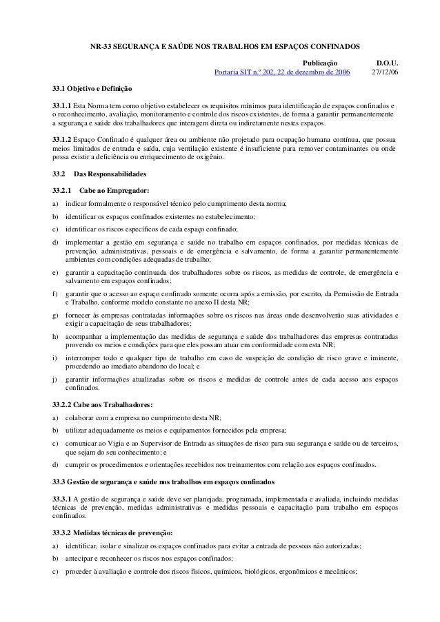 NR-33 SEGURANÇA E SAÚDE NOS TRABALHOS EM ESPAÇOS CONFINADOS                                                               ...
