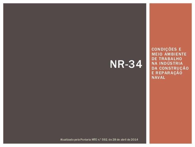 CONDIÇÕES E MEIO AMBIENTE DE TRABALHO NA INDÚSTRIA DA CONSTRUÇÃO E REPARAÇÃO NAVAL NR-34 Atualizado pela Portaria MTE n.º ...