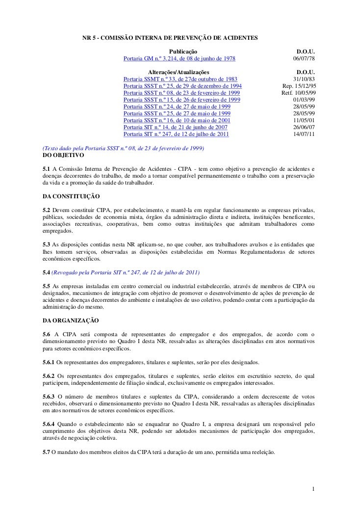 NR 5 - COMISSÃO INTERNA DE PREVENÇÃO DE ACIDENTES                                                    Publicação           ...