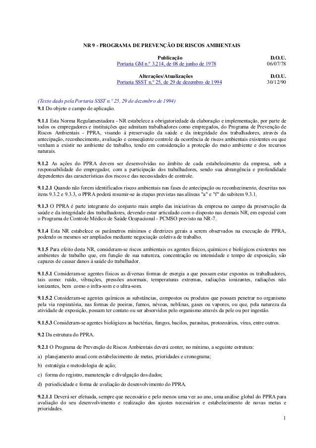 1 NR 9 - PROGRAMA DE PREVENÇÃO DE RISCOS AMBIENTAIS Publicação D.O.U. Portaria GM n.º 3.214, de 08 de junho de 1978 06/07/...