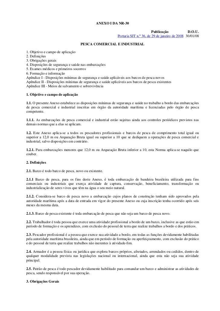 ANEXO I DA NR-30                                                                                    Publicação            ...
