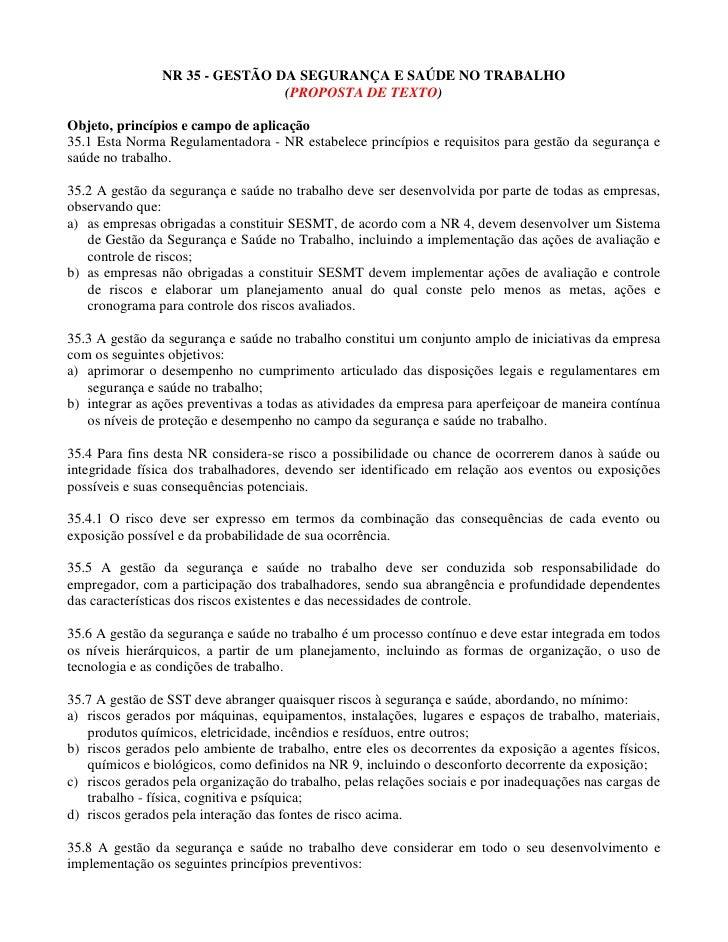 NR 35 - GESTÃO DA SEGURANÇA E SAÚDE NO TRABALHO                                (PROPOSTA DE TEXTO)Objeto, princípios e cam...