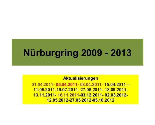 Nürburgring 2009 - 2013                 Aktualisierungen 01.04.2011- 05.04.2011- 08.04.2011- 15.04.2011 –  11.05.2011-19.0...