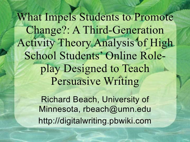 What Impels Students to Promote Change?: A Third-Generation Activity Theory Analysis of High School Students' Online Role-...