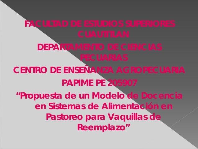 FACULTAD DE ESTUDIOS SUPERIORESCUAUTITLANDEPARTAMENTO DE CIENCIASPECUARIASCENTRO DE ENSEÑANZA AGROPECUARIAPAPIME PE 205907...