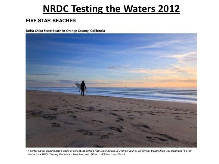 NRDC Testing the Waters 2012FIVE STAR BEACHESBolsa Chica State Beach in Orange County, California A surfer walks along wat...