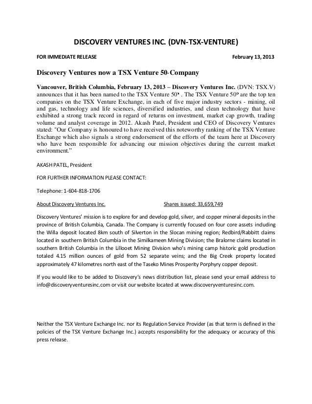 DISCOVERY VENTURES INC. (DVN-TSX-VENTURE)FOR IMMEDIATE RELEASE                                                            ...