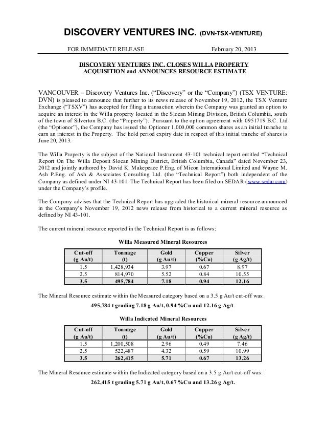 DISCOVERY VENTURES INC. (DVN-TSX-VENTURE)            FOR IMMEDIATE RELEASE                                          Februa...