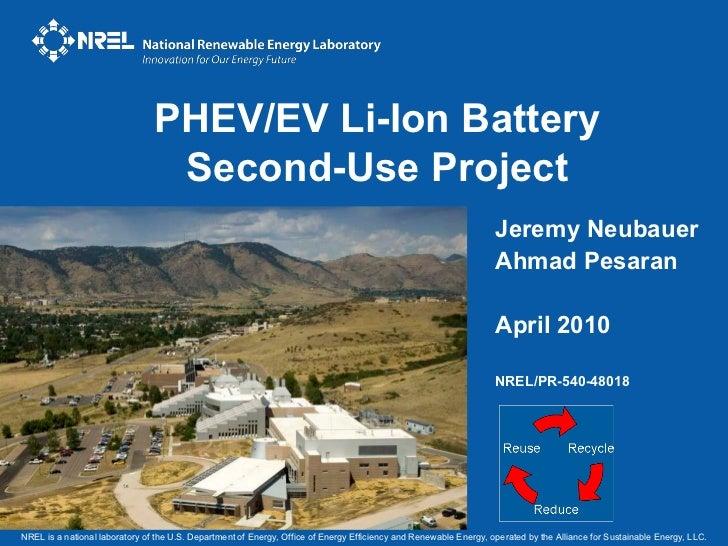 PHEV/EV Li-Ion Battery                                 Second-Use Project                                                 ...
