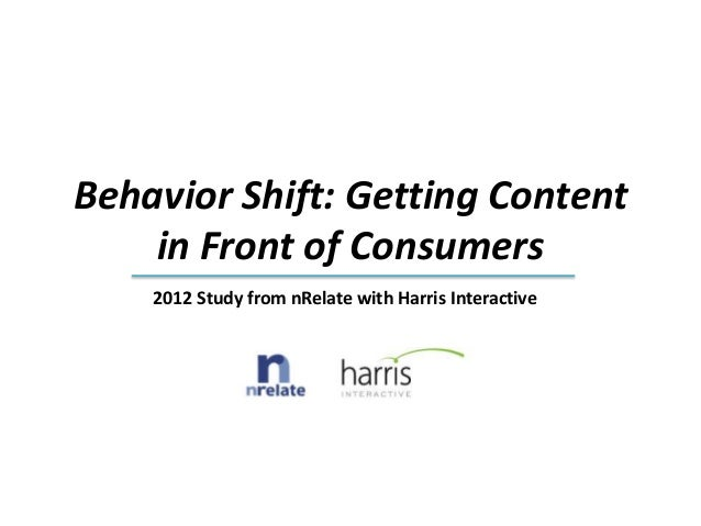 Behavior Shift: Getting Content    in Front of Consumers    2012 Study from nRelate with Harris Interactive
