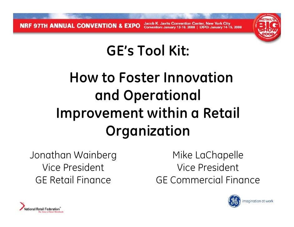 NRF Presentation - GE's Innovation Toolkit