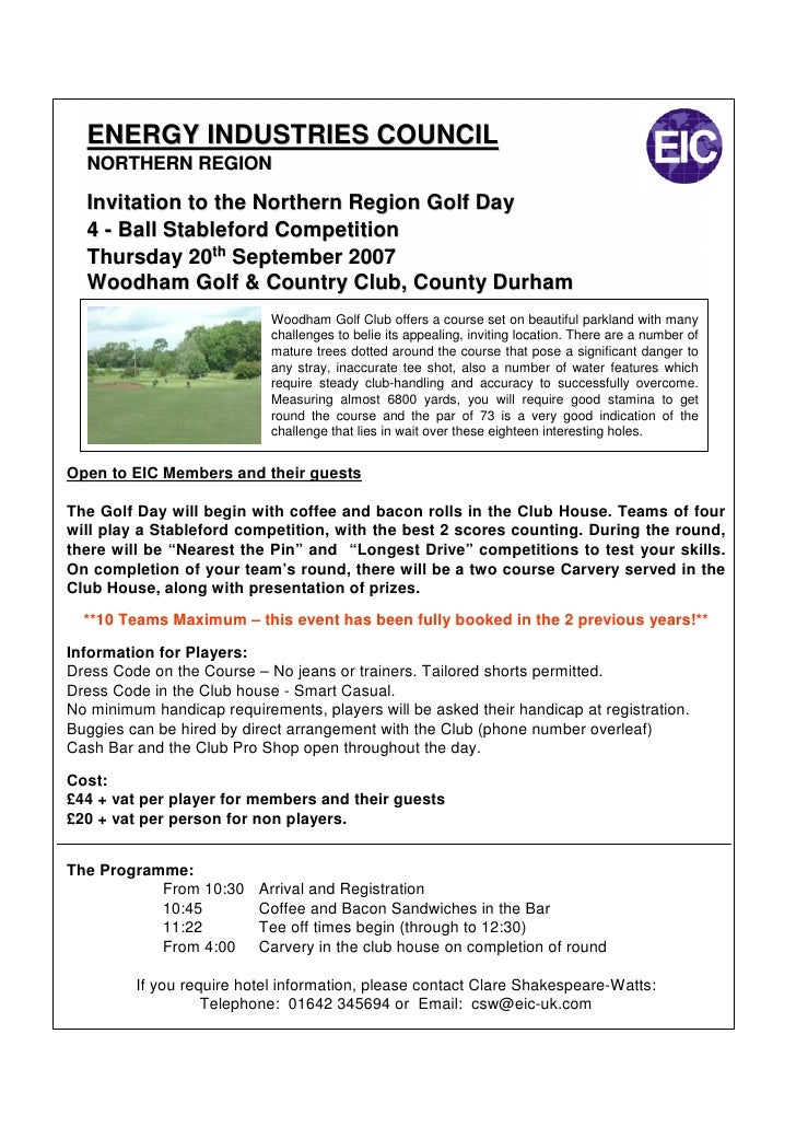 ENERGY INDUSTRIES COUNCIL   NORTHERN REGION    Invitation to the Northern Region Golf Day   4 - Ball Stableford Competitio...
