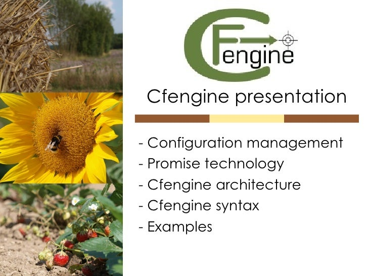 Cfengine presentation - Configuration management - Promise technology - Cfengine architecture - Cfengine syntax - Examples
