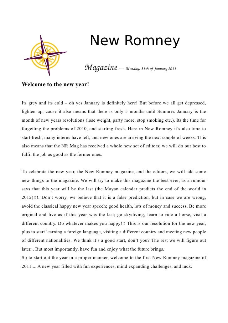 New Romney                                Magazine–Monday,31thofJanuary2011Welcome to the new year!Its grey and its ...