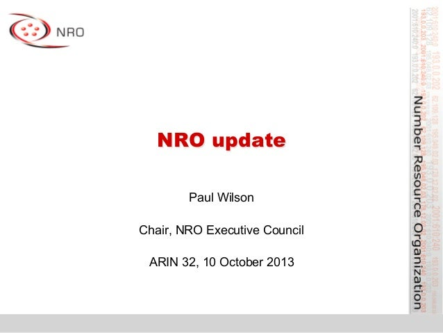 NRO activities report from ARIN 32