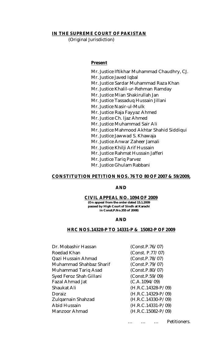 IN THE SUPREME COURT OF PAKISTAN       (Original Jurisdiction)                     Present                 Mr. Justice Ift...