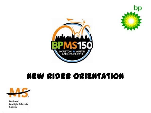 New Rider Orientation presentation 2013