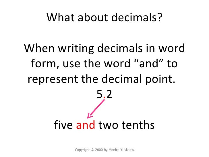 how to write decimals in words