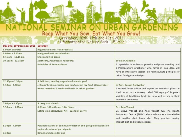 National Seminar on Organic Urban Gardening