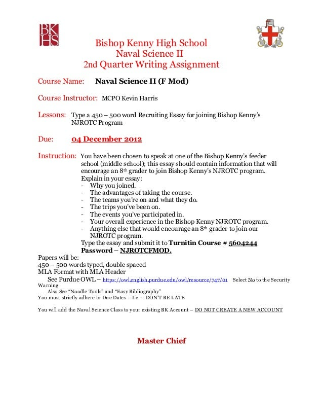 Bishop Kenny High School                         Naval Science II                  2nd Quarter Writing AssignmentCourse Na...