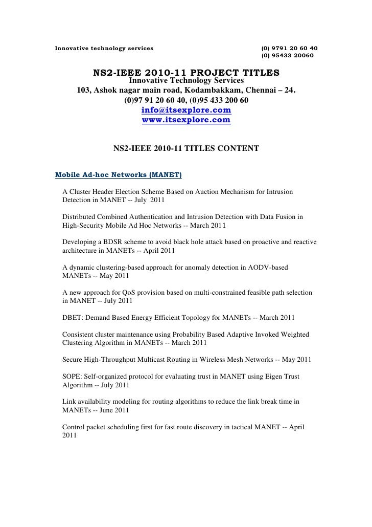 IEEE NS2 Projects 2011