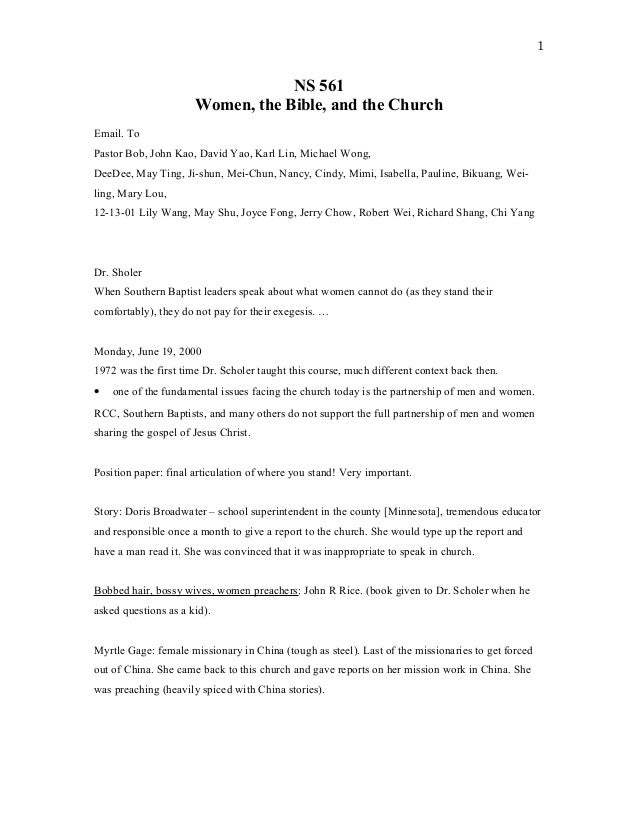 NS 561 Women, the Bible, and the Church Email. To Pastor Bob, John Kao, David Yao, Karl Lin, Michael Wong, DeeDee, May Tin...