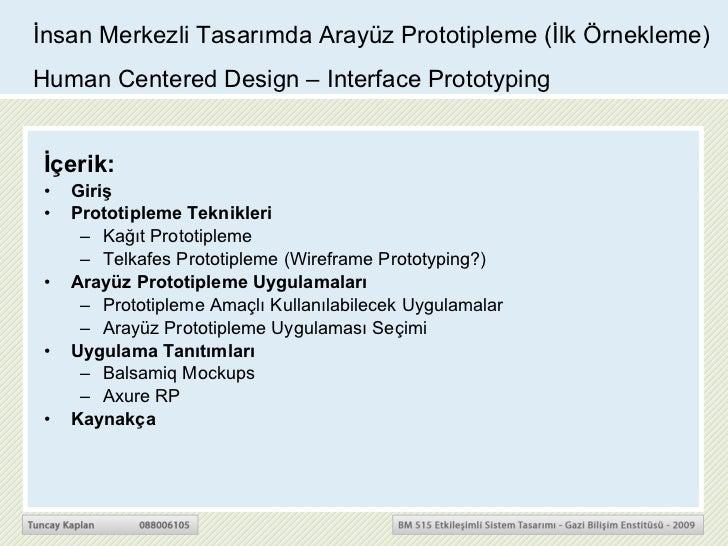 İnsan Merkezli Tasarımda Arayüz Prototipleme (İlk Örnekleme)