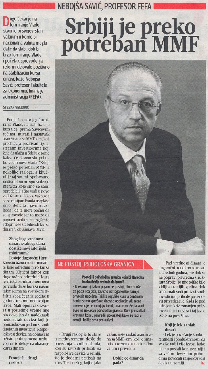 Prof.dr Nebojša Savić, Blic, 11.05.2012.