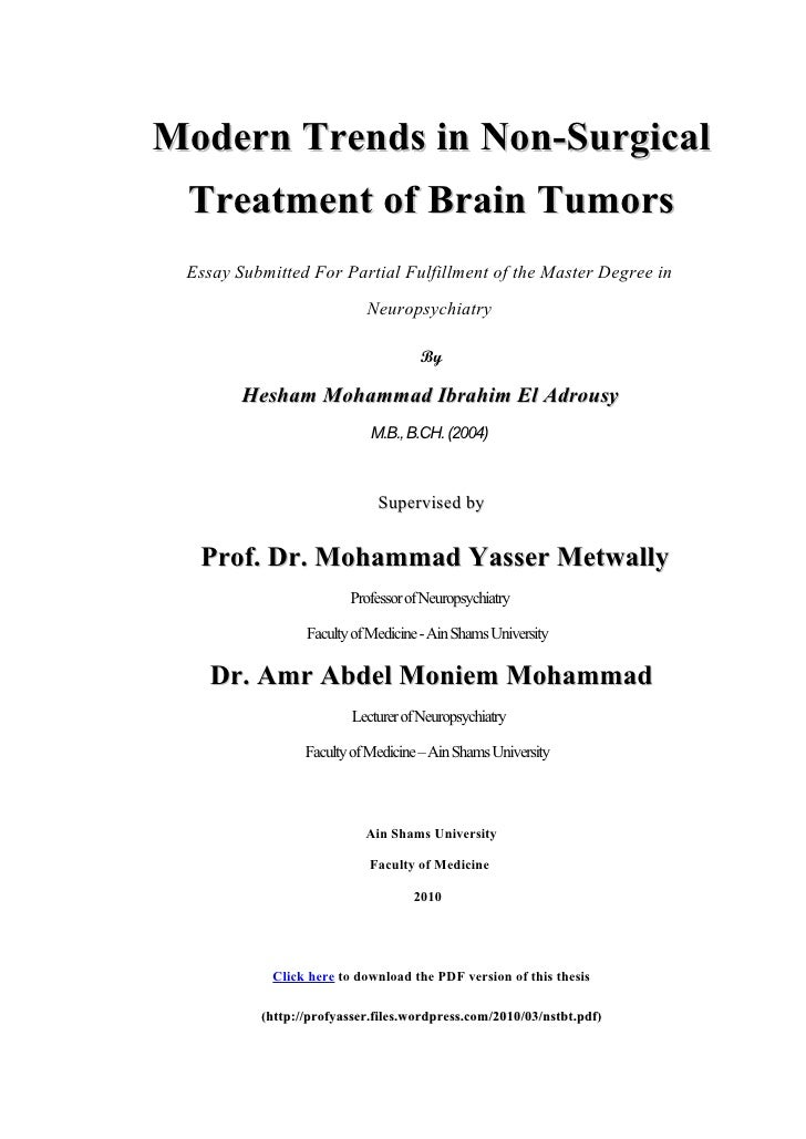 Modern Trends in Non-Surgical  Treatment of Brain Tumors  Essay Submitted For Partial Fulfillment of the Master Degree in ...