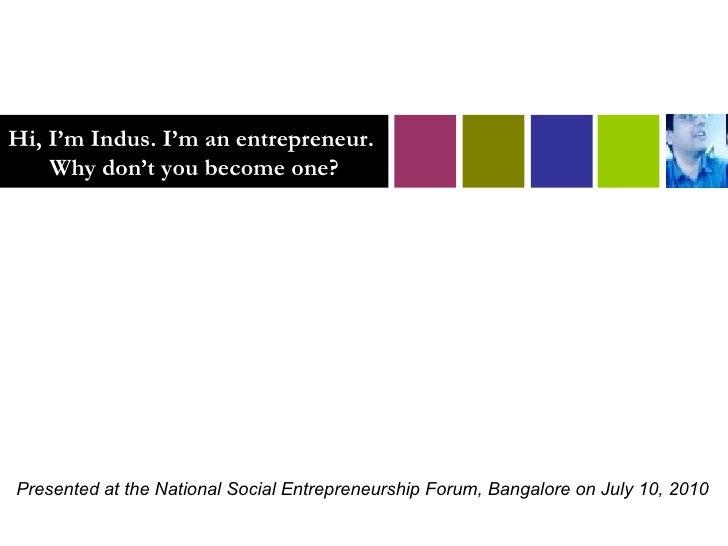 NSEF India - Why become a social entrepreneur now